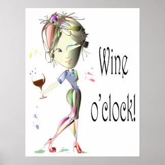 Weinuhr humorvolles Wein-Sprichwort Plakat