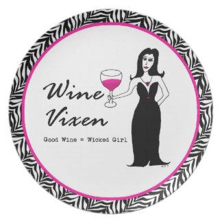 """Weinvixen-""""guter Wein = böses Mädchen"""" Teller"""