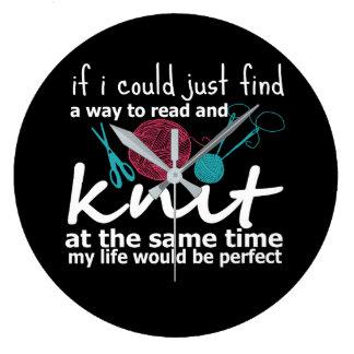 Weise, Strick mein Leben zu lesen würde perfekt Große Wanduhr