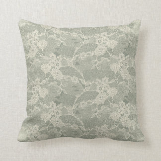 Weises graues Blumenspitze-Muster dekorativ Kissen
