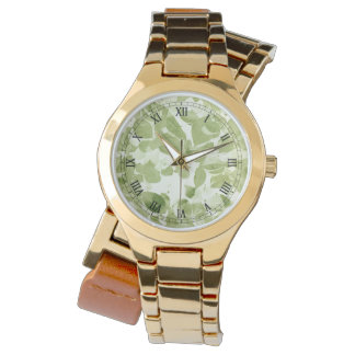 Weises Grün-Blatt-Muster, Vintages inspiriertes Armbanduhr