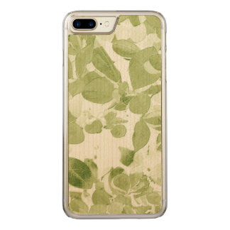 Weises Grün-Blatt-Muster, Vintages inspiriertes Carved iPhone 8 Plus/7 Plus Hülle