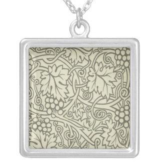 Weises Grün Grapevile William Morris Muster Versilberte Kette