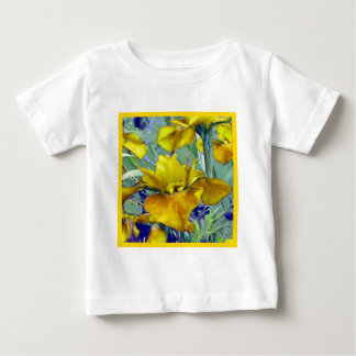 Weises Grün-Senf-gelbe Iris-Garten-Muster Baby T-shirt