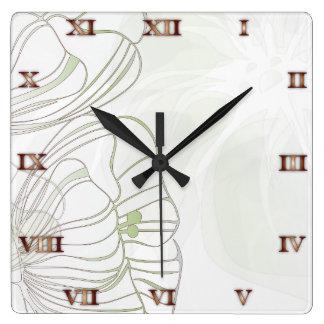 Weises Grün u. silberne Mohnblumen-Uhr Quadratische Wanduhr