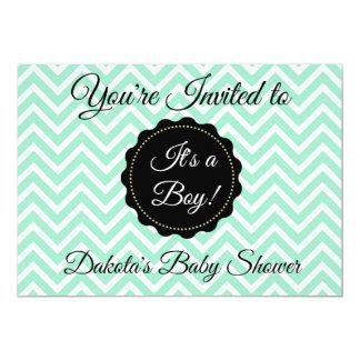 Weises Grün-und Schwarz-Jungen-Babyparty-Einladung Karte