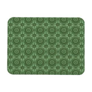 Weises Grün-Vintages geometrisches Blumenmuster Magnet
