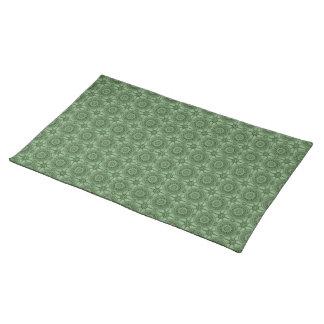 Weises Grün-Vintages geometrisches Blumenmuster Tischset