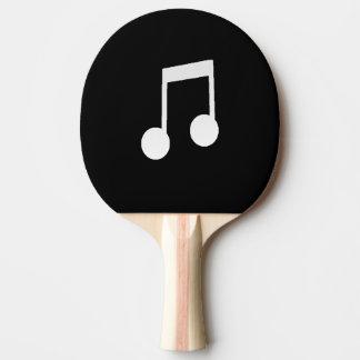 Weiß-Achtelnoten über schwarzen Hintergrund Tischtennis Schläger