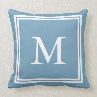 Weiß auf blauem doppelter Rahmen-Monogramm Kissen