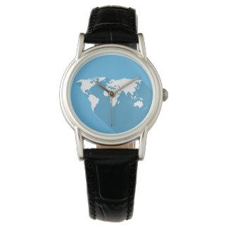 Weiß auf blauer Welt Uhr
