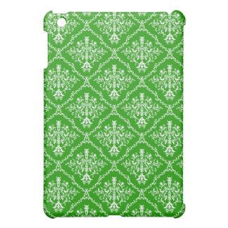 Weiß auf grünem Damast Pern iPad Mini Hüllen