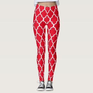 Weiß auf roter Quatrefoil kundenspezifischer Leggings