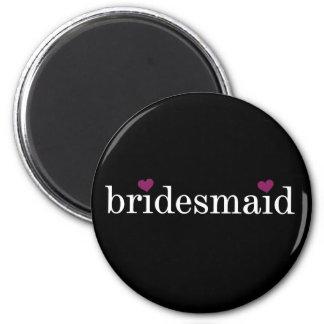 Weiß auf schwarzem Brautjungfern-Magneten Runder Magnet 5,7 Cm