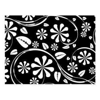 Weiß auf schwarzem Gänseblümchen-Blumen-Muster Postkarte