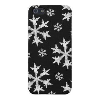 Weiß auf schwarzem Schneeflocke-Entwurf Etui Fürs iPhone 5