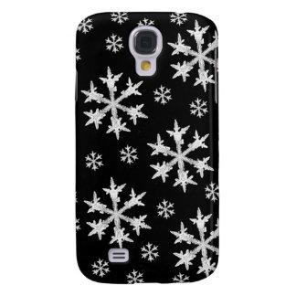 Weiß auf schwarzem Schneeflocke-Entwurf Galaxy S4 Hülle