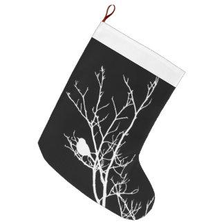 Weiß auf schwarzer Vogel-Silhouette - Großer Weihnachtsstrumpf