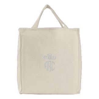 Weiß auf weißem Monogramm mit Krone gestickter Leinentasche