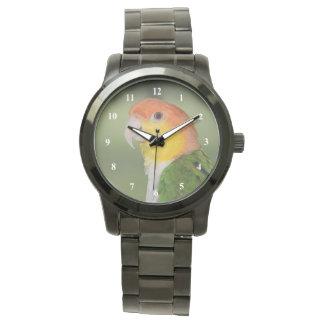 Weiß aufgeblähter Caique-Papagei draußen Armbanduhr
