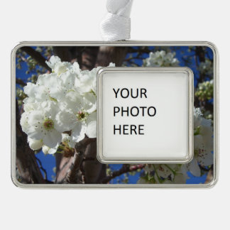 Weiß blüht blühender Baum des Frühlings-II Rahmen-Ornament Silber