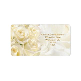 Weiß-Creme Rosen Adresse Avery Aufkleber Adress Aufkleber