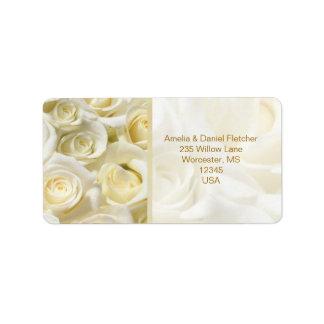 Weiß-Creme Rosen Adresse Avery Aufkleber Adressetiketten
