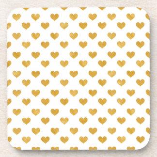 Weiß der Liebe-2018 - goldenes Herz Getränkeuntersetzer