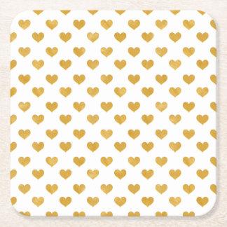 Weiß der Liebe-2018 - goldenes Herz Rechteckiger Pappuntersetzer
