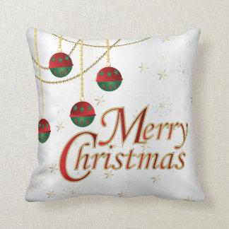 Weiß-, Gold-, Grüne und Rotefrohe Weihnachten Kissen