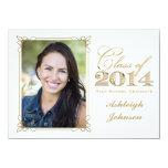 Weiß, Gold, Rot-Foto-Abschluss 2014 lädt ein Individuelle Ankündigskarten