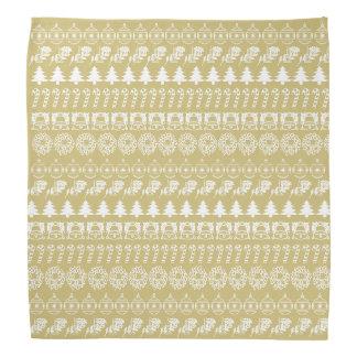 Weiß/Gold rudert WeihnachtsSchriftart-Kunst-Muster Kopftuch