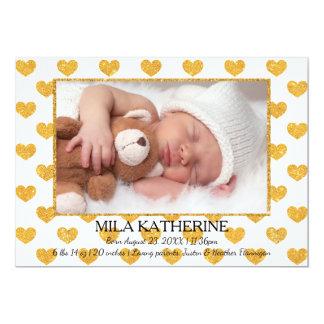 Weiß/GoldGlitter-Herzen Foto-Geburt Mitteilung 12,7 X 17,8 Cm Einladungskarte