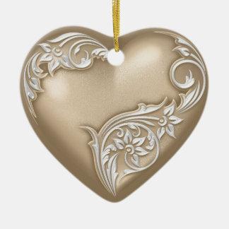 Weiß Herz-Rolletaupe-w Keramik Ornament
