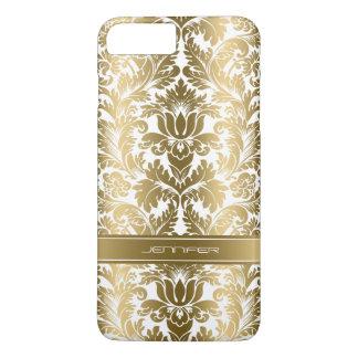 Weiß-Hintergrund der elegantes Goldblumendamast-2 iPhone 8 Plus/7 Plus Hülle