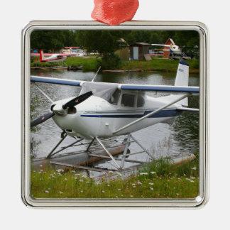 Weiß, Marine u. graues Floss-Flugzeug, Alaska Silbernes Ornament