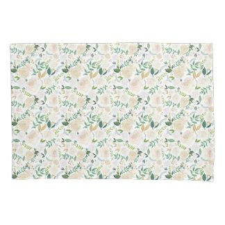 Weiß mit Blumen gemalt Kissen Bezug