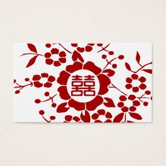 Weiß • Papier-Schnitt-Blumen • Doppeltes Glück Visitenkarte