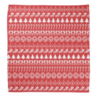 Weiß/Rot rudert WeihnachtsSchriftart-Kunst-Muster Kopftuch