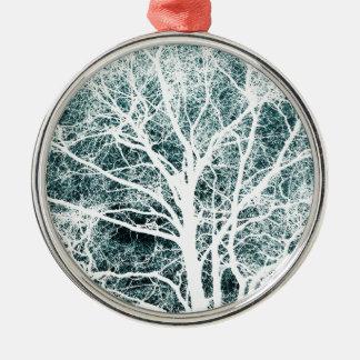 Weiß silhouettierter Baum Silbernes Ornament