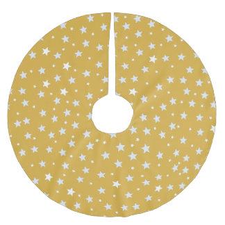 Weiß-Sterne auf Farbgold Polyester Weihnachtsbaumdecke