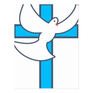 Weiß-Taube und Kreuz Postkarte