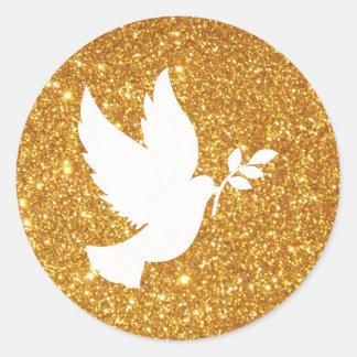 Weiß-Tauben-GoldGlitter Runder Aufkleber