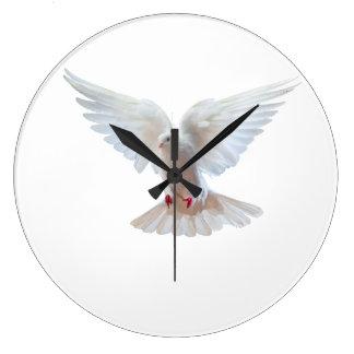 Weiß-Taubenbild runde (große) Wanduhr