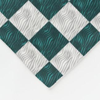 Weiß u. Aqua-gewellte Checkered Fleece-Decke Fleecedecke