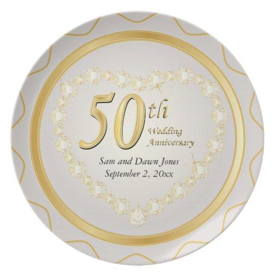 Weiß u. goldener Hochzeitstag des Gold50. Melaminteller