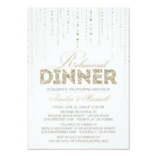 Weiß u. GoldGlitter-Blick-Proben-Abendessen laden Personalisierte Einladung
