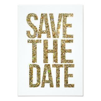 Weiß u. GoldGlitter-Save the Date Typografie