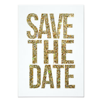 Weiß u. GoldGlitter-Save the Date Typografie 12,7 X 17,8 Cm Einladungskarte