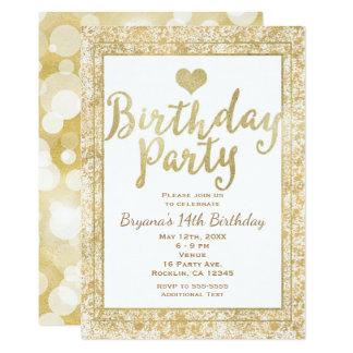 Weiß u. Goldherz-bezaubernde Geburtstags-Party 12,7 X 17,8 Cm Einladungskarte